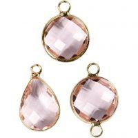 Jewellery Pendant, H: 15-20 mm, hole size 2 mm, light rose, 1 pack