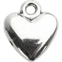 Heart pendant, size 13x15 mm, silver-plated, 10 pc/ 1 pack