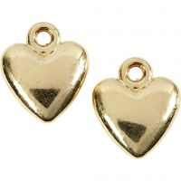 Heart pendant, size 13x15 mm, gold-plated, 10 pc/ 1 pack