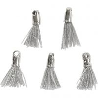 Cotton Tassel, L: 10 mm, hole size 1 mm, grey, 5 pc/ 1 pack