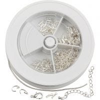 Jewellery Finding Assortment, silver-plated, 1 set