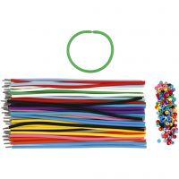 Bracelet, L: 20 cm, thickness 4 mm, assorted colours, 48 set/ 1 pack