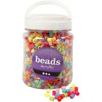 Barrel Bead Mix, D: 7 mm, hole size 3,5 mm, assorted colours, 700 ml/ 1 tub, 265 g