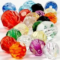 Faceted Bead Mix, size 10-12-16 mm, hole size 1-2,5 mm, 125 ml/ 1 pack, 75 g