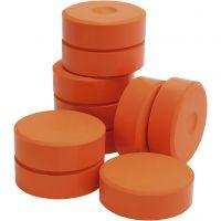 Tempera paint blocks, H: 19 mm, D: 57 mm, orange, 10 pc/ 1 pack