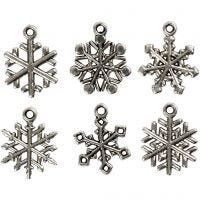 Snowflake, H: 20 mm, hole size 1,5 mm, antique silver, 18 asstd./ 1 pack