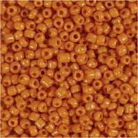 Rocaille Seed Beads, D: 3 mm, size 8/0 , hole size 0,6-1,0 mm, orange, 500 g/ 1 pack