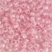 Rocaille Seed Beads, D: 4 mm, size 6/0 , hole size 0,9-1,2 mm, rose center, 25 g/ 1 pack