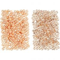 Rocaille Seed Beads, D: 1,7 mm, size 15/0 , hole size 0,5-0,8 mm, peach, light peach, 2x7 g/ 1 pack