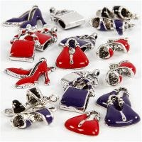 Charms with loop, size 12-20 mm, hole size 1-3 mm, black, purple, red, silver-plated, 20 asstd./ 1 pack