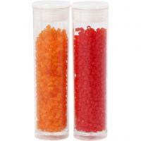 2-cut, D: 1,7 mm, size 15/0 , hole size 0,5 mm, transparent orange, transparent red, 2x7 g/ 1 pack
