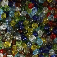 Rocaille Seed Beads, D: 4 mm, size 6/0 , hole size 0,9-1,2 mm, Gloss transparent, 1000 g/ 1 pack