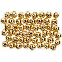 Wax Beads, D: 5 mm, hole size 0,7 mm, gold, 100 pc/ 1 pack