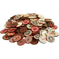 Wooden Buttons, D: 20 mm, 180 pc/ 1 pack