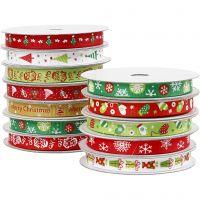 Christmas ribbon, W: 10 mm, 12x3 m/ 1 pack