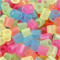 Fuse Beads, size 5x5 mm, hole size 2,5 mm, medium, neon colours, 6000 asstd./ 1 pack