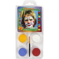 Eulenspiegel Face Paint - Motif Set, clown, assorted colours, 1 set