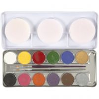 Water-based Face Paint, assorted colours, 12 colour/ 1 set