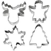 Cookie cutters, Christmas tree, angel, reindeer, snowflake, H: 8 cm, 4 pc/ 1 pack
