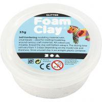 Foam Clay®, glitter, white, 35 g/ 1 tub
