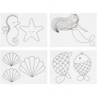 Shrink Plastic Sheets with motives, mermaid, 10,5x14,5 cm, thickness 0,3 mm, matt transparent, 4 sheet/ 1 pack