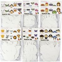 Card Masks, H: 15-22 cm, W: 24-25 cm, 230 g, white, 192 pc/ 1 pack