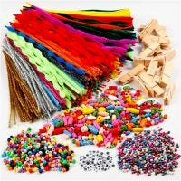 Fun with pegs and pipe cleaners, assorted colours, 1 set