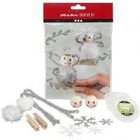 Creative mini kit, angels on wooden pegs, 1 set