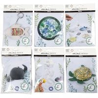 Creative mini kits, whale with baby, fishing game, solar collector, jellyfish and fish, turtle, fish, 6 set/ 1 pack