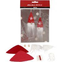 Creative mini kit, hanging Christmas gnome, H: 11 cm, 1 set