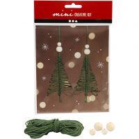 Creative mini kit, macramé Christmas tree, H: 11 cm, 2 pc/ 1 set