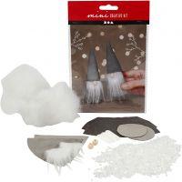Creative mini kit, Scandinavian Santa gnomes, H: 12 cm, grey, 1 set