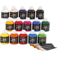 School acrylic paint glossy, glossy, assorted colours, 1 set
