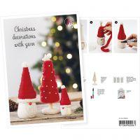 Postcard , An elf and a Christmas tree from chunky yarn, A5, 14,8x21 cm, 1 pc
