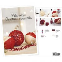 Postcard , Christmas baubles with mini glass beads, A5, 14,8x21 cm, 1 pc