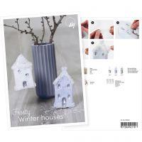 Postcard , Snow covered houses, A5, 14,8x21 cm, 1 pc