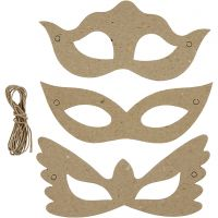 Masks, H: 5+8 cm, W: 18 cm, 3x10 pc/ 1 pack