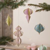 3D Christmas baubles made from handmade paper