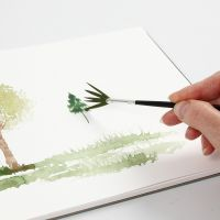 Watercolour techniques with a fan brush