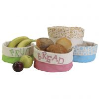 Beautiful fabric baskets with stamped designs