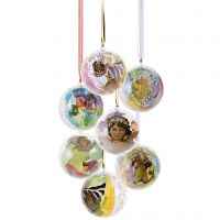 Beautiful plastic baubles with decoration inside