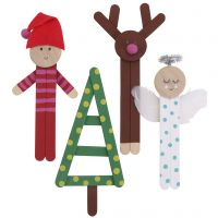 Colourful Christmas figures from ice lolly sticks